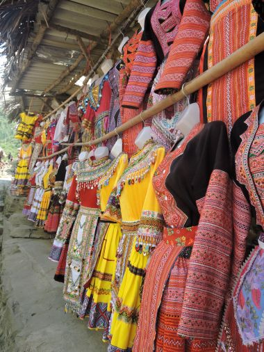 Traditional costumes for sale in Cat Cat Village, Sapa