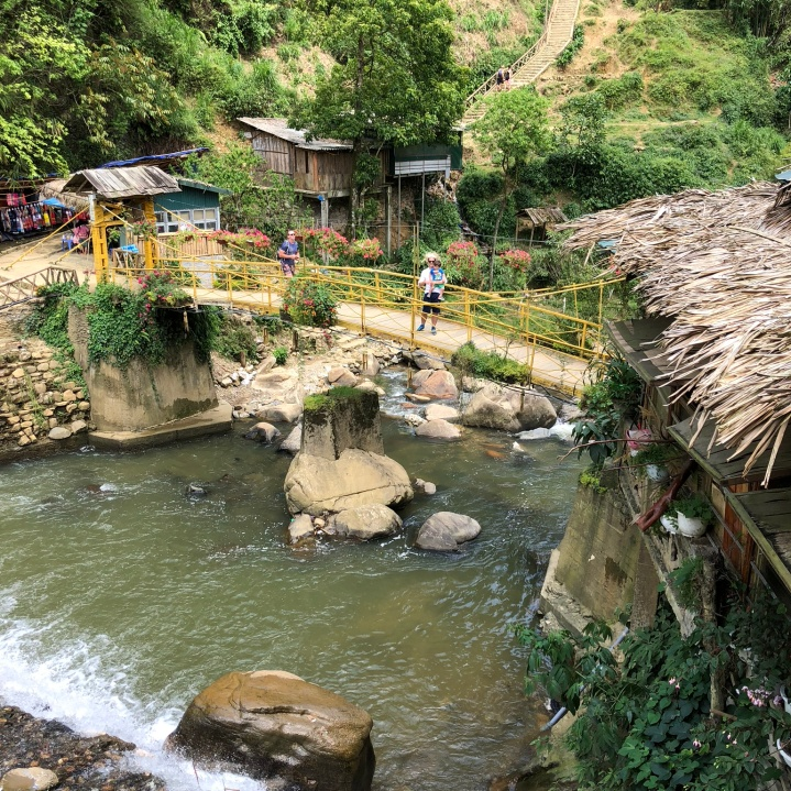 River, water falls, bamboo bridges, Cat Cat Village